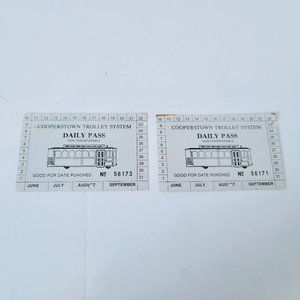 Cooperstown Trolley System Daily Pass Lot of 2